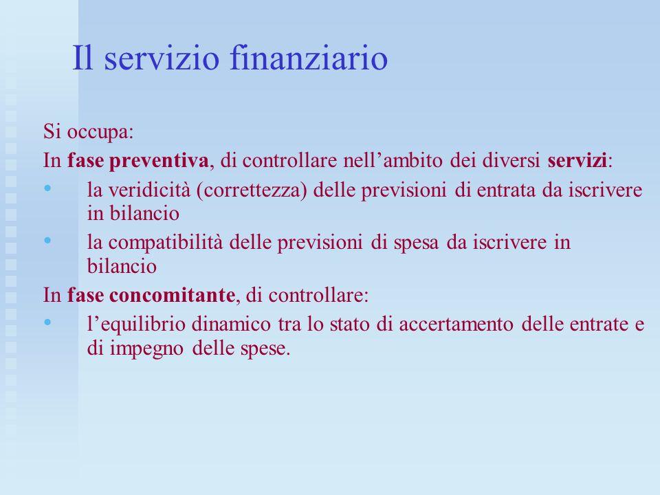 Il servizio finanziario Si occupa: In fase preventiva, di controllare nellambito dei diversi servizi: la veridicità (correttezza) delle previsioni di