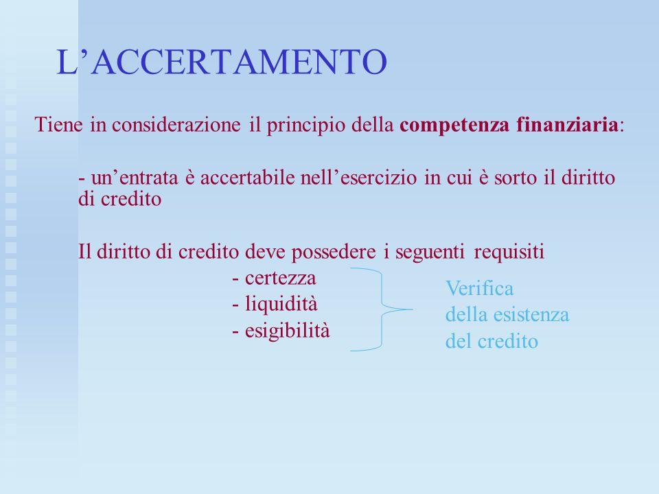 LACCERTAMENTO Tiene in considerazione il principio della competenza finanziaria: - unentrata è accertabile nellesercizio in cui è sorto il diritto di