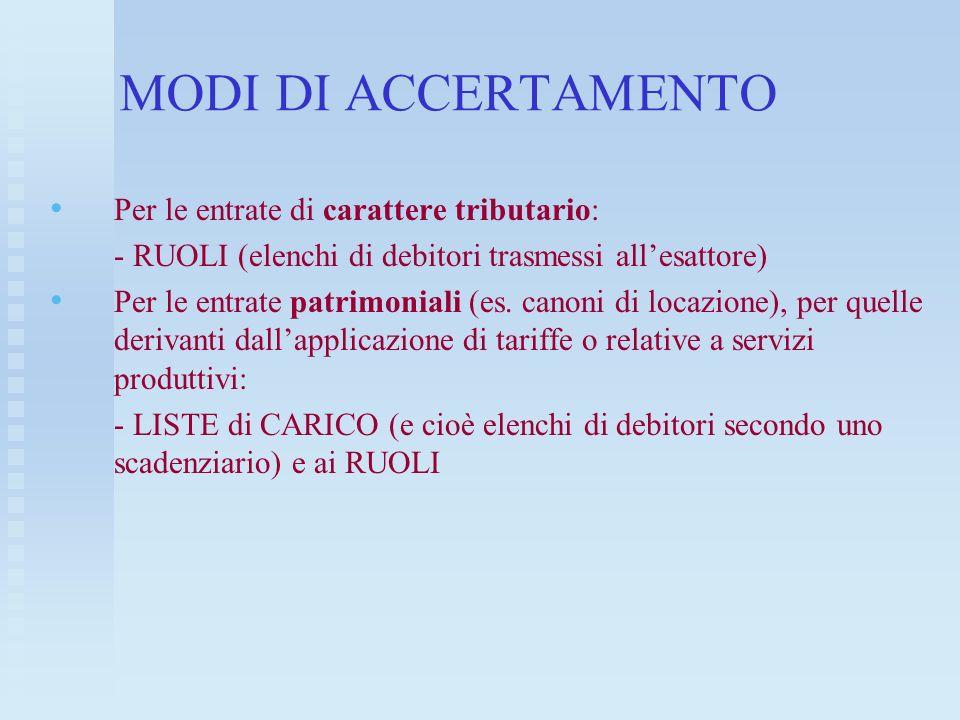 MODI DI ACCERTAMENTO Per le entrate di carattere tributario: - RUOLI (elenchi di debitori trasmessi allesattore) Per le entrate patrimoniali (es. cano