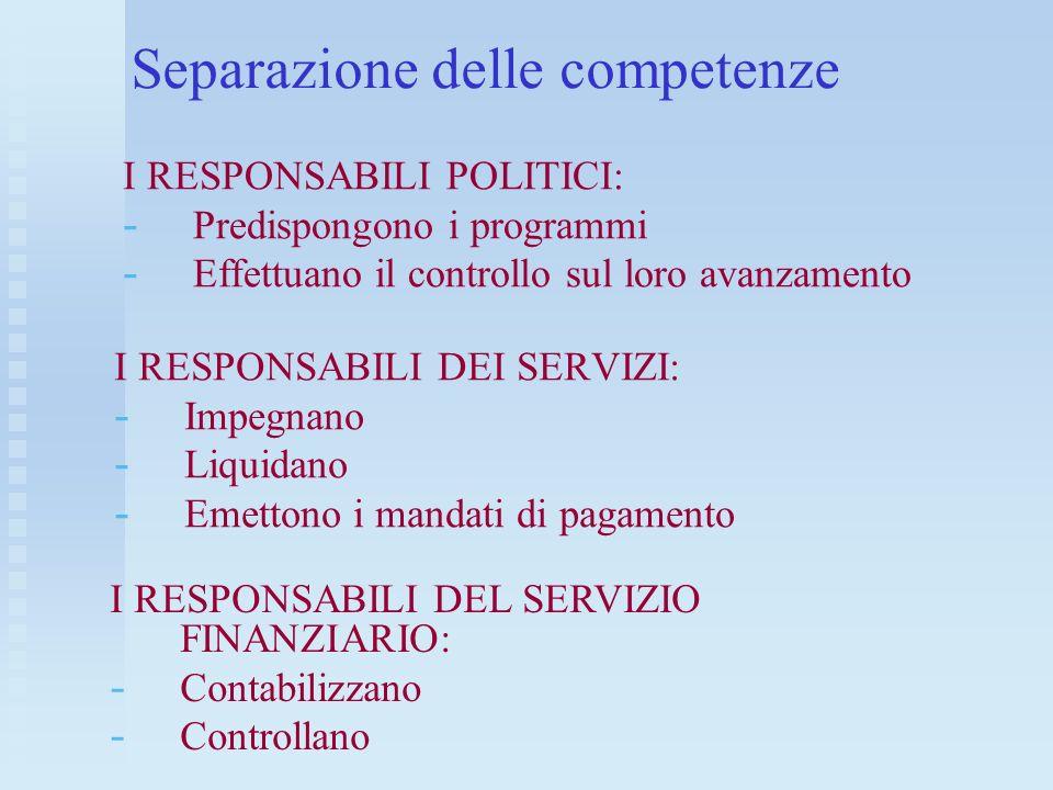 Separazione delle competenze I RESPONSABILI DEI SERVIZI: - - Impegnano - - Liquidano - - Emettono i mandati di pagamento I RESPONSABILI DEL SERVIZIO F