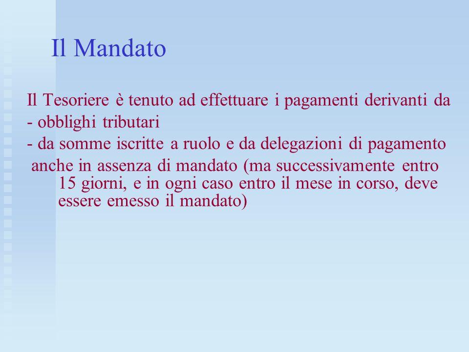 Il Mandato Il Tesoriere è tenuto ad effettuare i pagamenti derivanti da - obblighi tributari - da somme iscritte a ruolo e da delegazioni di pagamento