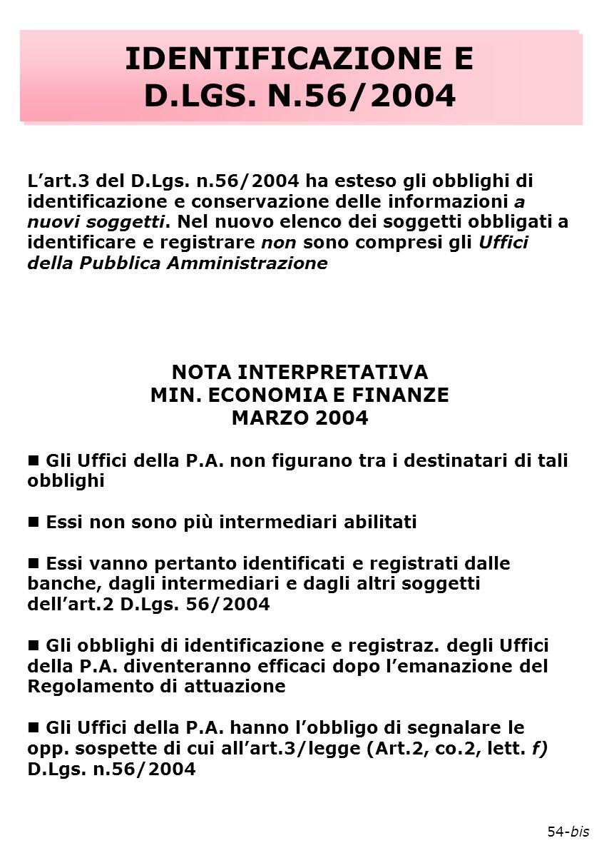 IDENTIFICAZIONE E D.LGS. N.56/2004 IDENTIFICAZIONE E D.LGS.