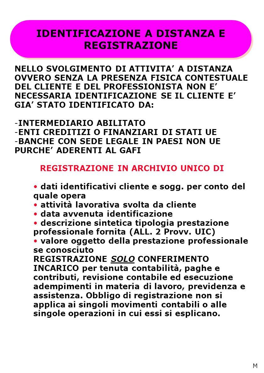 IDENTIFICAZIONE A DISTANZA E REGISTRAZIONE NELLO SVOLGIMENTO DI ATTIVITA A DISTANZA OVVERO SENZA LA PRESENZA FISICA CONTESTUALE DEL CLIENTE E DEL PROFESSIONISTA NON E NECESSARIA IDENTIFICAZIONE SE IL CLIENTE E GIA STATO IDENTIFICATO DA: -INTERMEDIARIO ABILITATO -ENTI CREDITIZI O FINANZIARI DI STATI UE -BANCHE CON SEDE LEGALE IN PAESI NON UE PURCHE ADERENTI AL GAFI REGISTRAZIONE IN ARCHIVIO UNICO DI dati identificativi cliente e sogg.