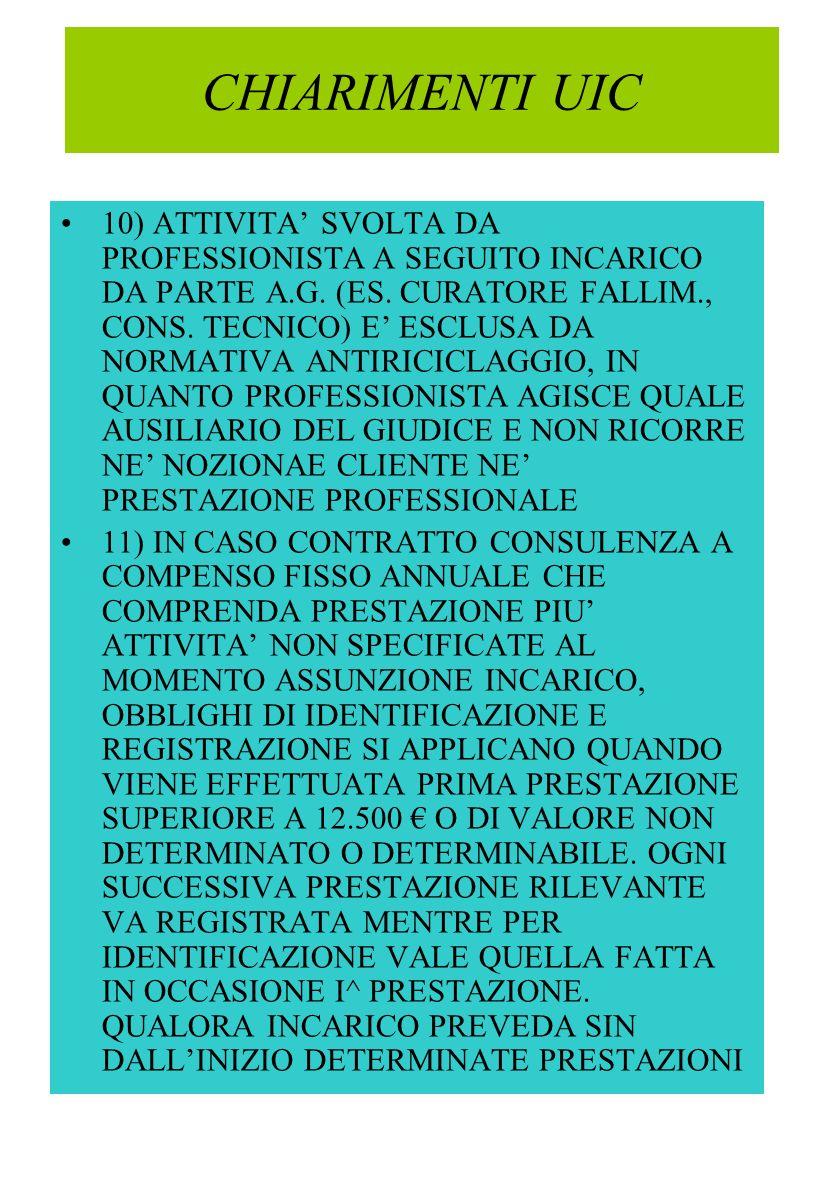 CHIARIMENTI UIC 10) ATTIVITA SVOLTA DA PROFESSIONISTA A SEGUITO INCARICO DA PARTE A.G.