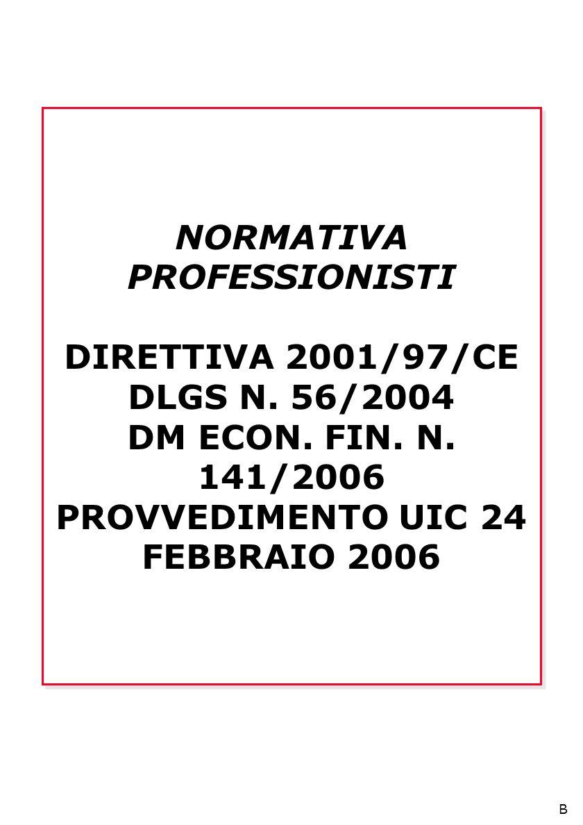 NORMATIVA PROFESSIONISTI DIRETTIVA 2001/97/CE DLGS N.