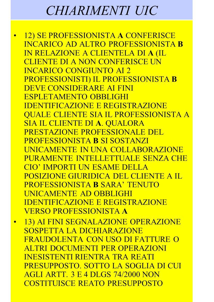 CHIARIMENTI UIC 12) SE PROFESSIONISTA A CONFERISCE INCARICO AD ALTRO PROFESSIONISTA B IN RELAZIONE A CLIENTELA DI A (IL CLIENTE DI A NON CONFERISCE UN INCARICO CONGIUNTO AI 2 PROFESSIONISTI) IL PROFESSIONISTA B DEVE CONSIDERARE AI FINI ESPLETAMENTO OBBLIGHI IDENTIFICAZIONE E REGISTRAZIONE QUALE CLIENTE SIA IL PROFESSIONISTA A SIA IL CLIENTE DI A.