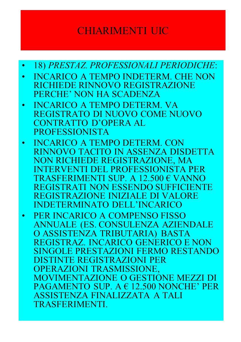 CHIARIMENTI UIC 18) PRESTAZ. PROFESSIONALI PERIODICHE: INCARICO A TEMPO INDETERM.