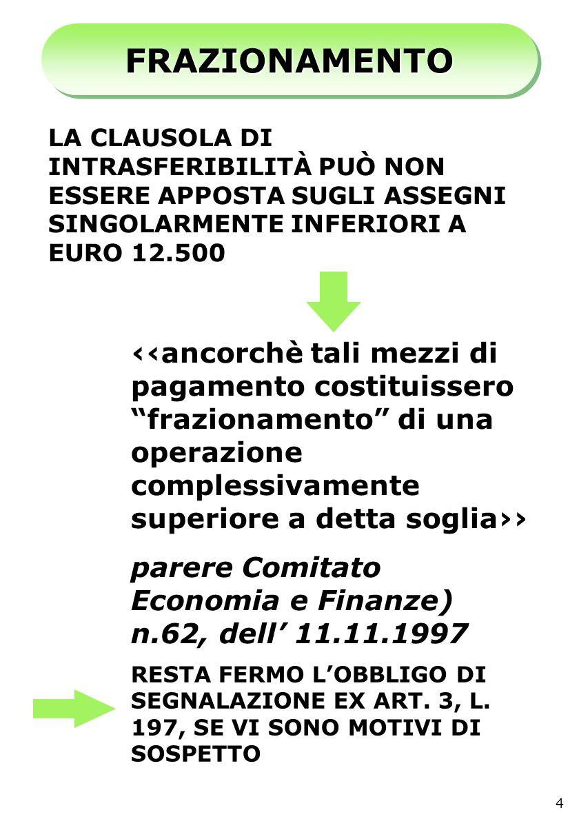 FRAZIONAMENTOFRAZIONAMENTO LA CLAUSOLA DI INTRASFERIBILITÀ PUÒ NON ESSERE APPOSTA SUGLI ASSEGNI SINGOLARMENTE INFERIORI A EURO 12.500 ancorchè tali mezzi di pagamento costituissero frazionamento di una operazione complessivamente superiore a detta soglia parere Comitato Economia e Finanze) n.62, dell 11.11.1997 RESTA FERMO LOBBLIGO DI SEGNALAZIONE EX ART.