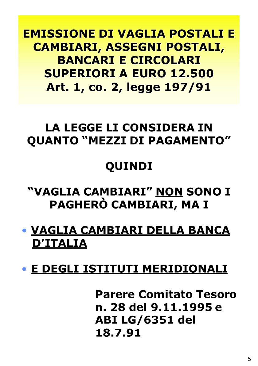 EMISSIONE DI VAGLIA POSTALI E CAMBIARI, ASSEGNI POSTALI, BANCARI E CIRCOLARI SUPERIORI A EURO 12.500 Art.