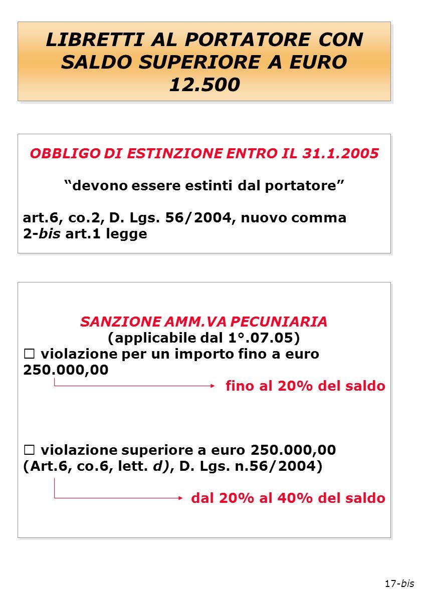 17-bis LIBRETTI AL PORTATORE CON SALDO SUPERIORE A EURO 12.500 OBBLIGO DI ESTINZIONE ENTRO IL 31.1.2005 devono essere estinti dal portatore art.6, co.2, D.