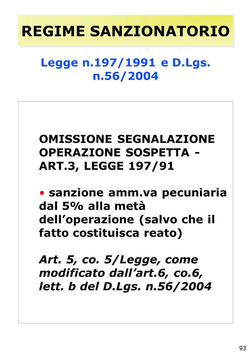 93 REGIME SANZIONATORIO Legge n.197/1991 e D.Lgs.