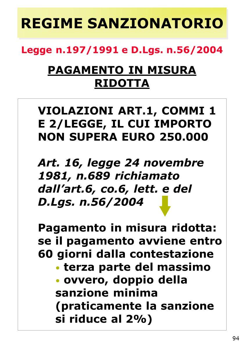 94 REGIME SANZIONATORIO Legge n.197/1991 e D.Lgs.
