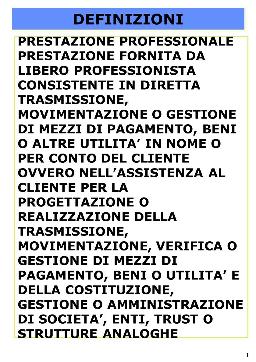 1)OBBLIGHI IDENTIIFICAZIONE, REGISTRAZIONE E CONSERVAZIONE NON SI APPLICANO AD INCARICHI CONFERITI DAL CLIENTE PRIMA 22.04.06 SALVO CHE SIANO ANCORA IN ESSERE AL 22.04.07 2) OBBLIGO ISTITUZIONE ARCHIVIO SOLO SE VI SONO INFORMAZIONI DA REGISTRARE.