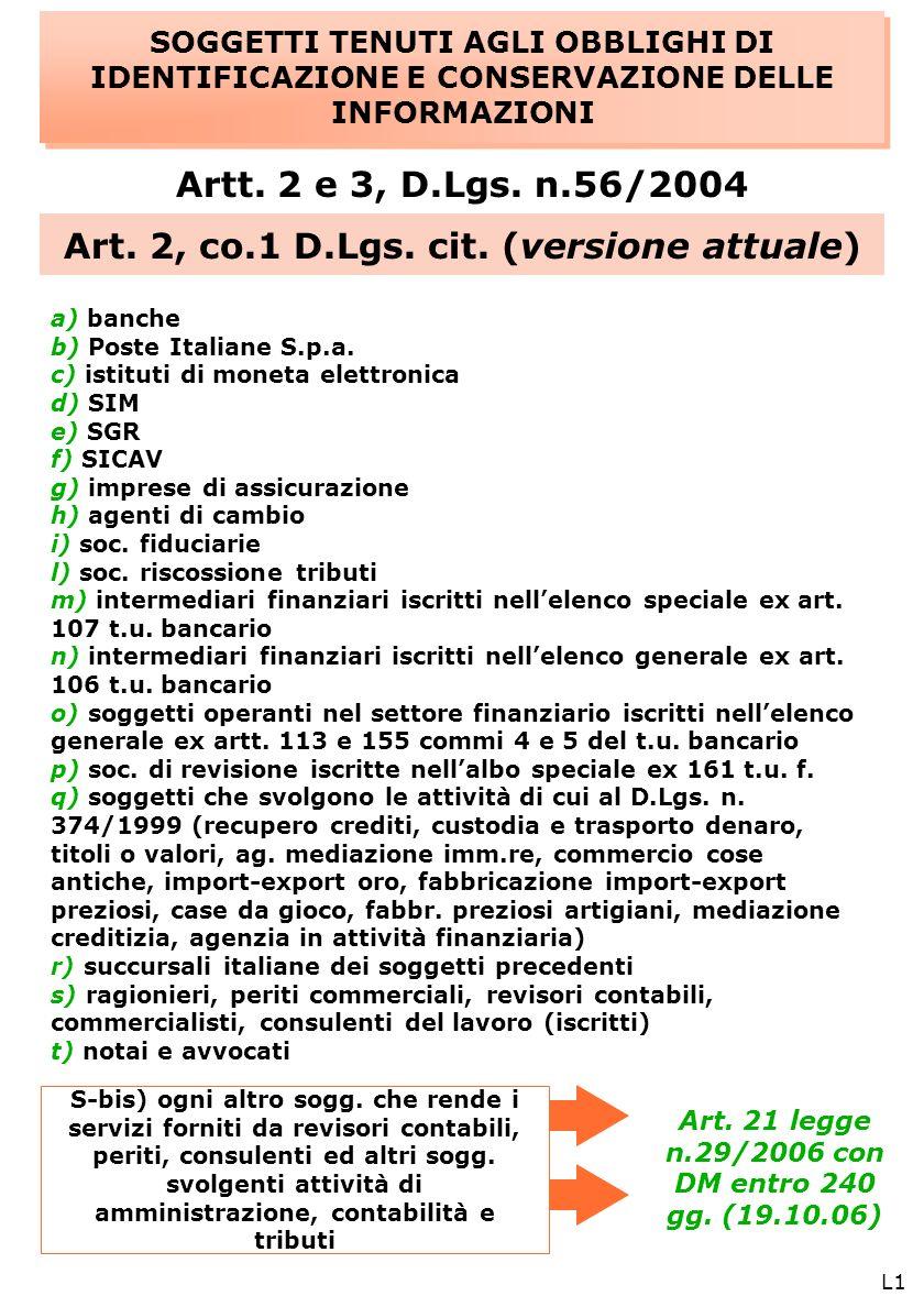 L1 SOGGETTI TENUTI AGLI OBBLIGHI DI IDENTIFICAZIONE E CONSERVAZIONE DELLE INFORMAZIONI Artt.