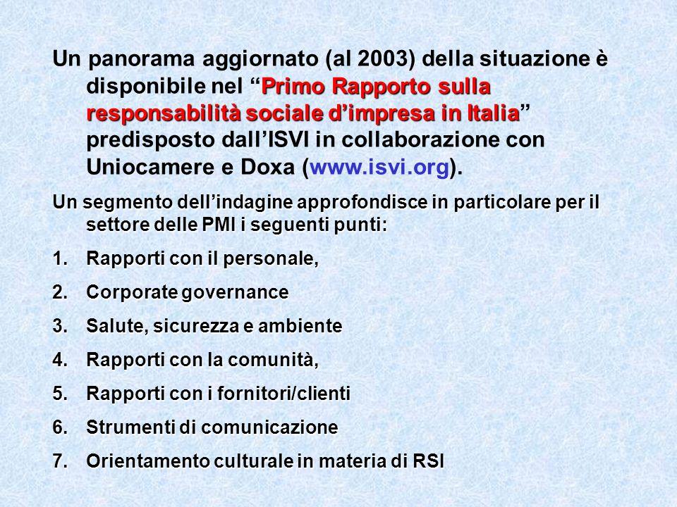 Primo Rapporto sulla responsabilità sociale dimpresa in Italia Un panorama aggiornato (al 2003) della situazione è disponibile nel Primo Rapporto sulla responsabilità sociale dimpresa in Italia predisposto dallISVI in collaborazione con Uniocamere e Doxa (www.isvi.org).