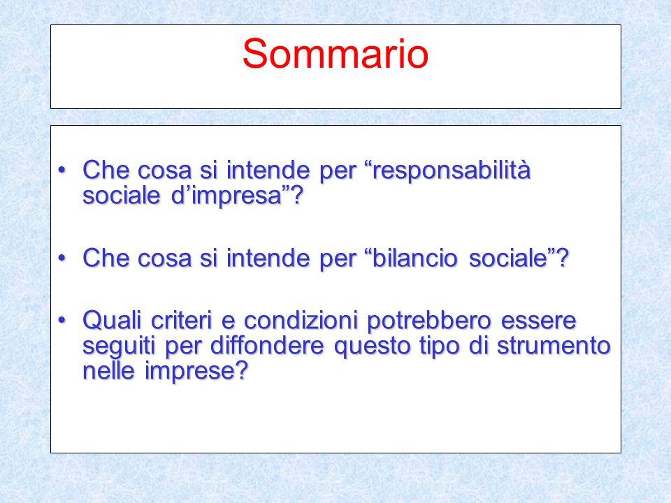 Sommario Che cosa si intende per responsabilità sociale dimpresa?Che cosa si intende per responsabilità sociale dimpresa.
