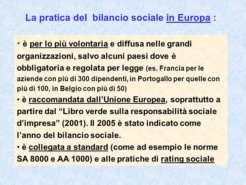 La pratica del bilancio sociale in Europa : è per lo più volontaria e diffusa nelle grandi organizzazioni, salvo alcuni paesi dove è obbligatoria e regolata per legge (es.