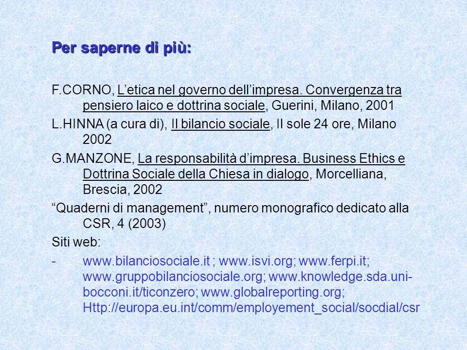 Per saperne di più: F.CORNO, Letica nel governo dellimpresa.