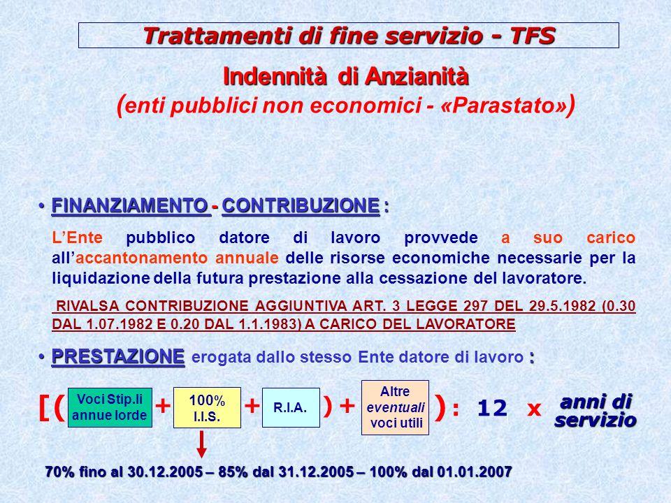 Trattamenti di fine servizio - TFS Indennità di Buonuscita Indennità di Buonuscita (ex ENPAS) cessazioni prima dei rinnovi CCNL (fino al 2002) (2,50%) (Quota a carico dell iscritto: 2,50%) FINANZIAMENTO - CONTRIBUZIONE :FINANZIAMENTO - CONTRIBUZIONE : PRESTAZIONE:PRESTAZIONE erogata dallINPDAP : Voci Stip.li annue lorde Altre voci utili R.I.A.