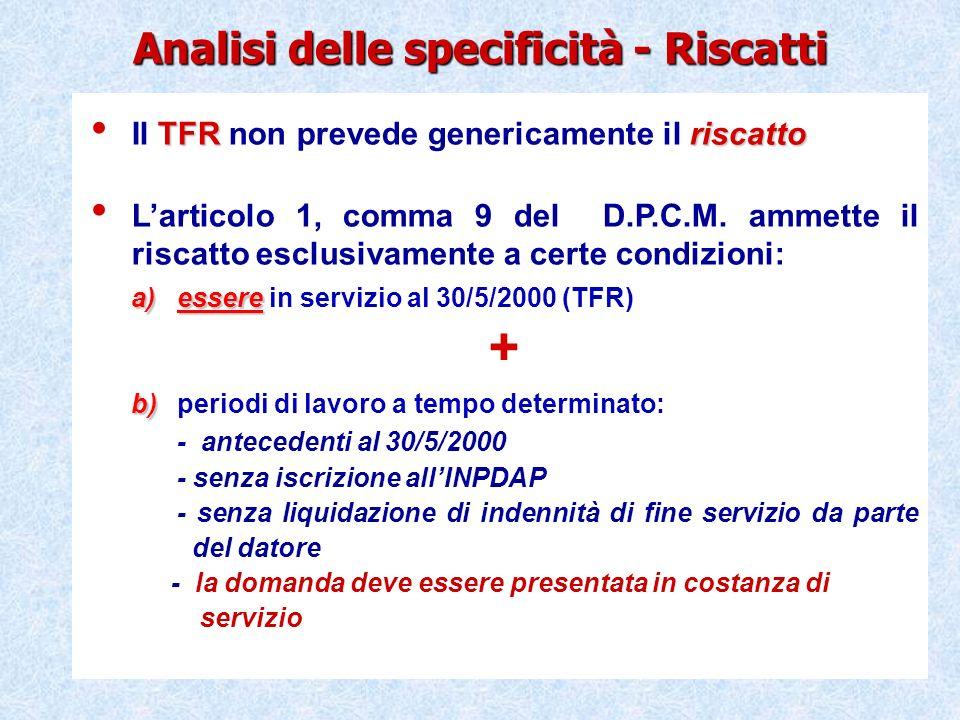 Esempi di riscatto ai fini del TFS e del TFR Gli effetti del riscatto sono analoghi, in regime di TFR, anche se si tratta di lavoratori dipendenti da Enti locali/Sanità (con applicazione della normativa riscatto IPS).