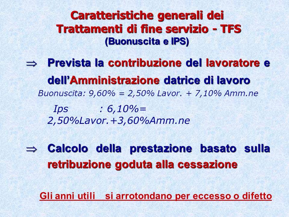 Trattamento di fine servizio (BU – IPS) Contribuzione del lavoratore e datore di lavoro Computo rapportato alla base retributiva goduta alla cessazione
