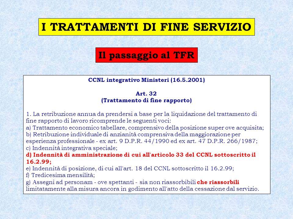 Il passaggio al TFR CCNL integrativo del CCNL del comparto sanità (7.6.2001) Art.