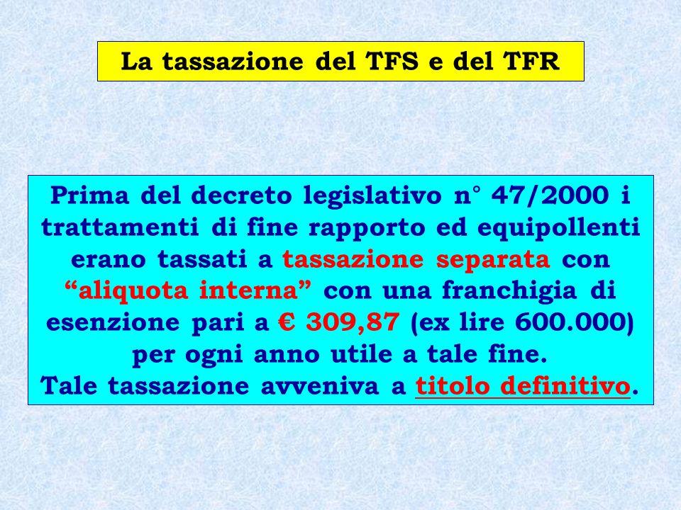 Il Trattamento Fiscale Per la tassazione futura rimane il vecchio criterio pro quota (compresa la franchigia di 309,87 euro) per tutto il maturato al 31.12.2000, mentre per gli accantonamenti dal 1.1.2001 vi sarà la tassazione disgiunta fra la componente capitale (accantonamenti) e la componente finanziaria (rivalutazioni).