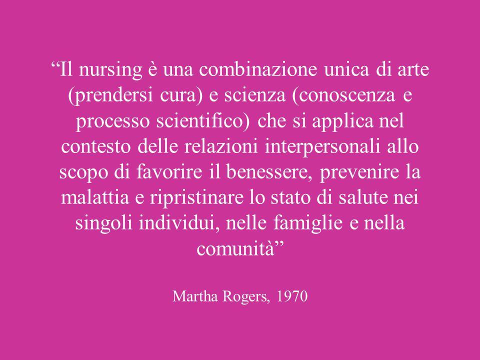 Il nursing è una combinazione unica di arte (prendersi cura) e scienza (conoscenza e processo scientifico) che si applica nel contesto delle relazioni