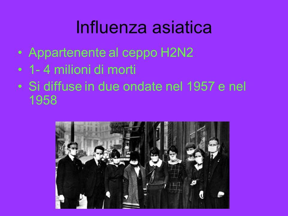 Influenza asiatica Appartenente al ceppo H2N2 1- 4 milioni di morti Si diffuse in due ondate nel 1957 e nel 1958
