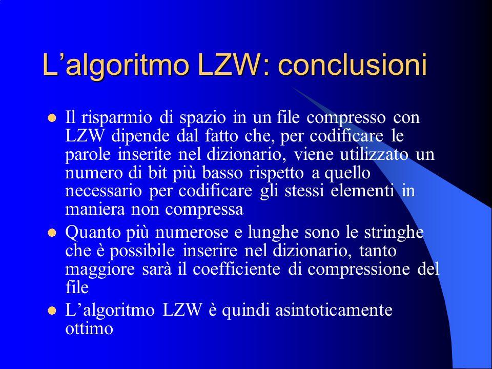 Lalgoritmo LZW: conclusioni Il risparmio di spazio in un file compresso con LZW dipende dal fatto che, per codificare le parole inserite nel dizionari