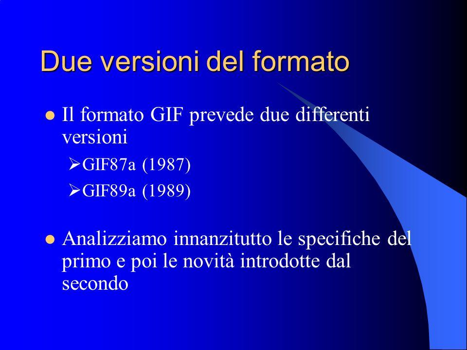 Due versioni del formato Il formato GIF prevede due differenti versioni GIF87a (1987) GIF89a (1989) Analizziamo innanzitutto le specifiche del primo e