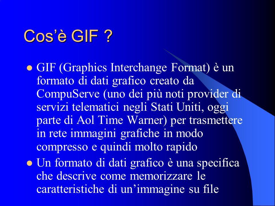 Cosè GIF ? GIF (Graphics Interchange Format) è un formato di dati grafico creato da CompuServe (uno dei più noti provider di servizi telematici negli