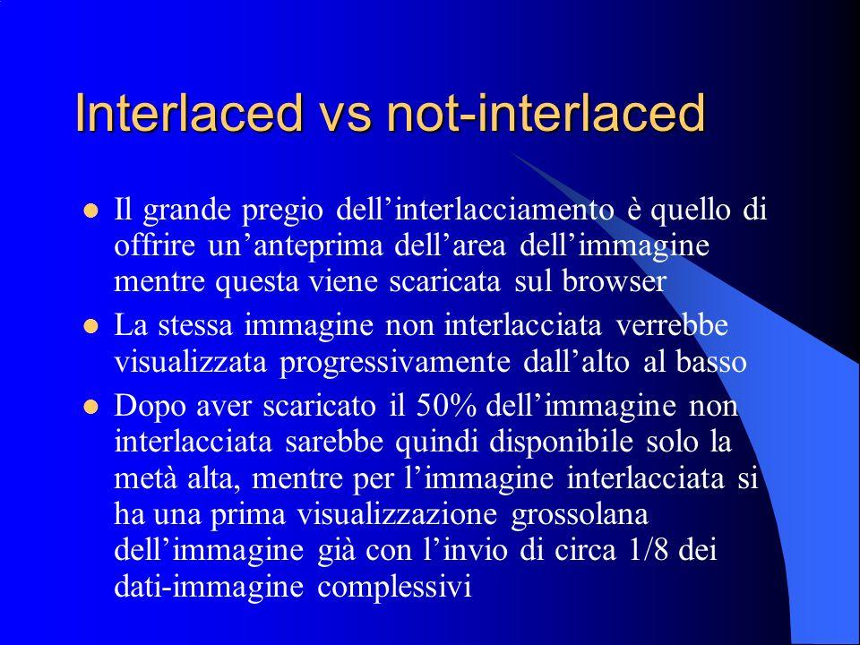 Interlaced vs not-interlaced Il grande pregio dellinterlacciamento è quello di offrire unanteprima dellarea dellimmagine mentre questa viene scaricata