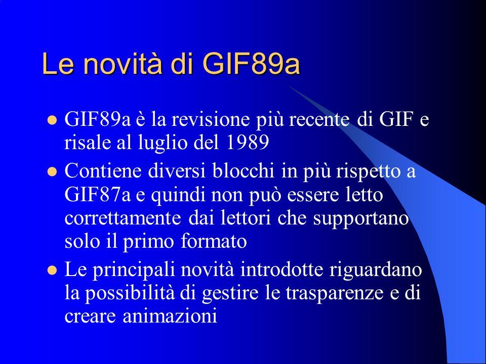 Le novità di GIF89a GIF89a è la revisione più recente di GIF e risale al luglio del 1989 Contiene diversi blocchi in più rispetto a GIF87a e quindi no