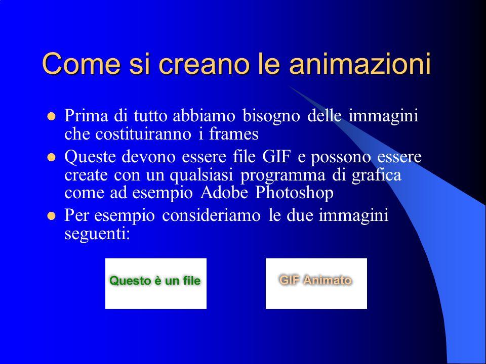 Come si creano le animazioni Prima di tutto abbiamo bisogno delle immagini che costituiranno i frames Queste devono essere file GIF e possono essere c