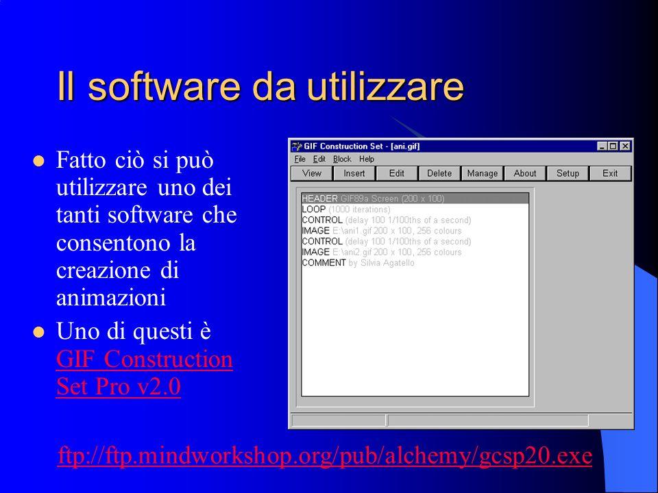 Il software da utilizzare Fatto ciò si può utilizzare uno dei tanti software che consentono la creazione di animazioni Uno di questi è GIF Constructio