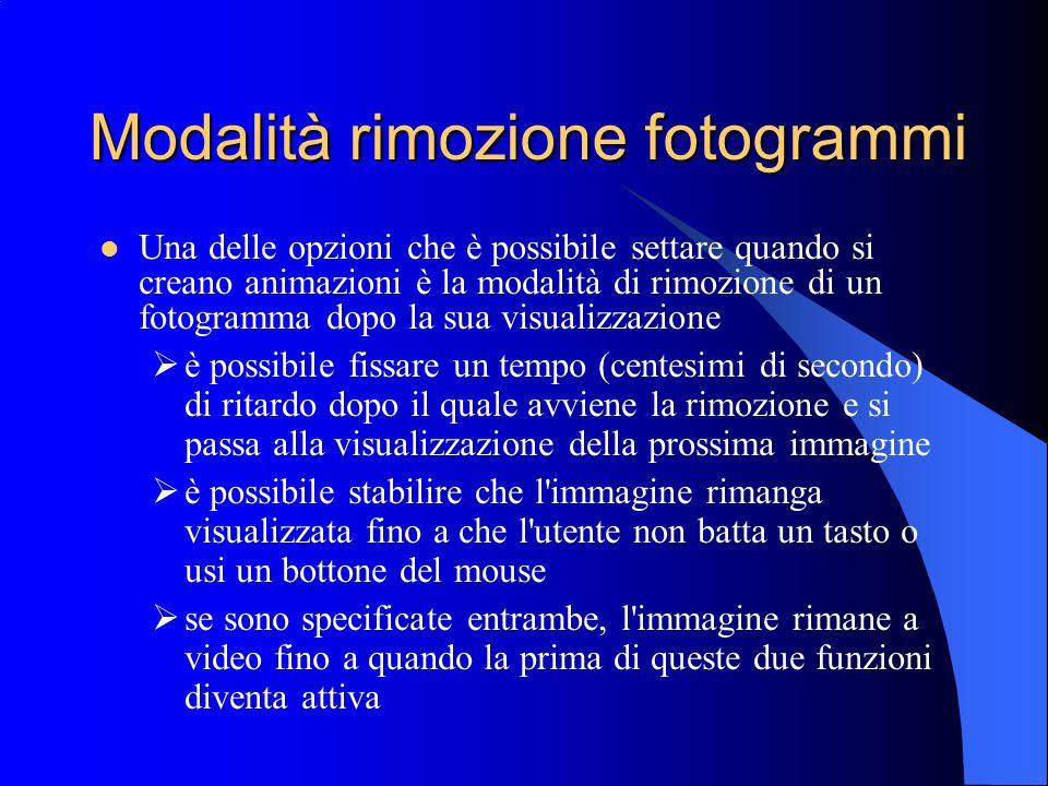 Modalità rimozione fotogrammi Una delle opzioni che è possibile settare quando si creano animazioni è la modalità di rimozione di un fotogramma dopo l