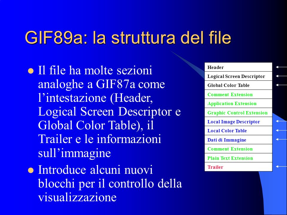 GIF89a: la struttura del file Header Logical Screen Descriptor Global Color Table Comment Extension Application Extension Graphic Control Extension Lo