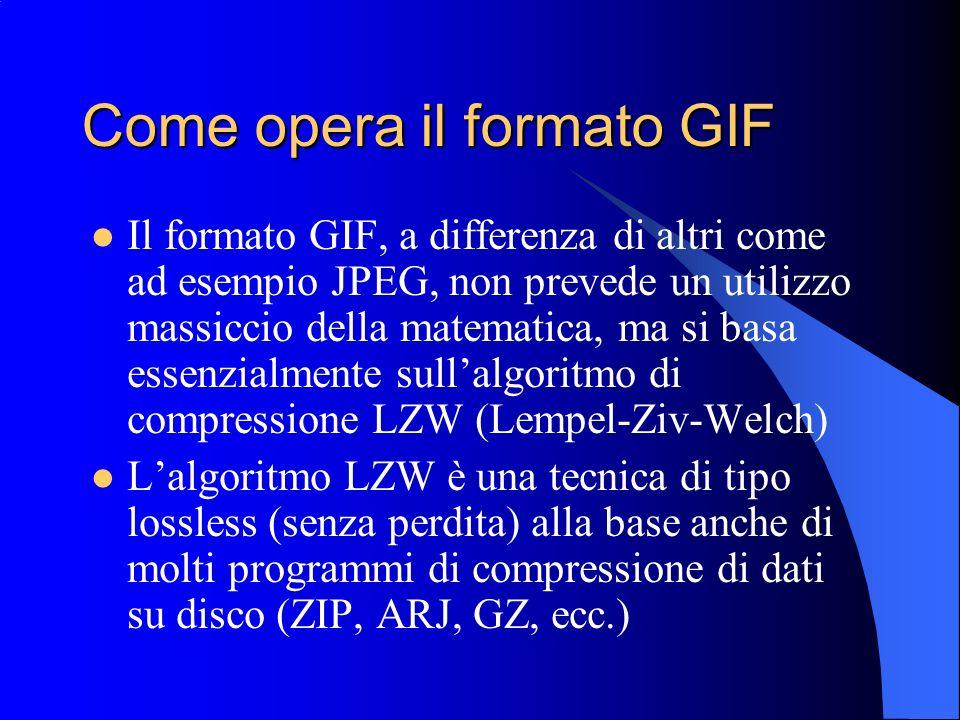Come opera il formato GIF Il formato GIF, a differenza di altri come ad esempio JPEG, non prevede un utilizzo massiccio della matematica, ma si basa e