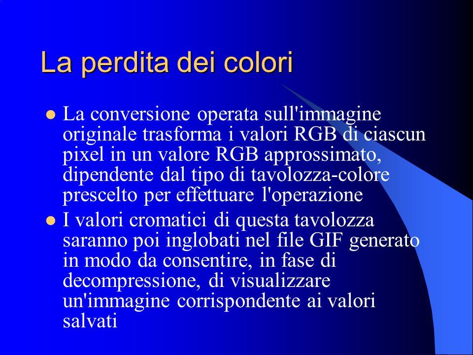 La perdita dei colori La conversione operata sull'immagine originale trasforma i valori RGB di ciascun pixel in un valore RGB approssimato, dipendente