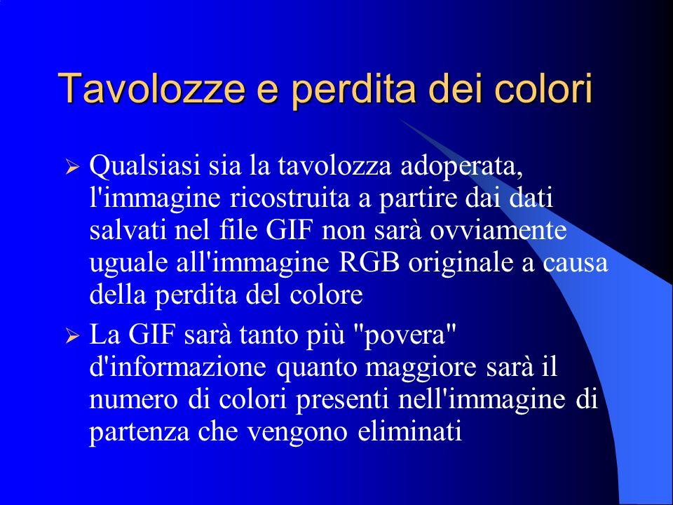 Tavolozze e perdita dei colori Qualsiasi sia la tavolozza adoperata, l'immagine ricostruita a partire dai dati salvati nel file GIF non sarà ovviament