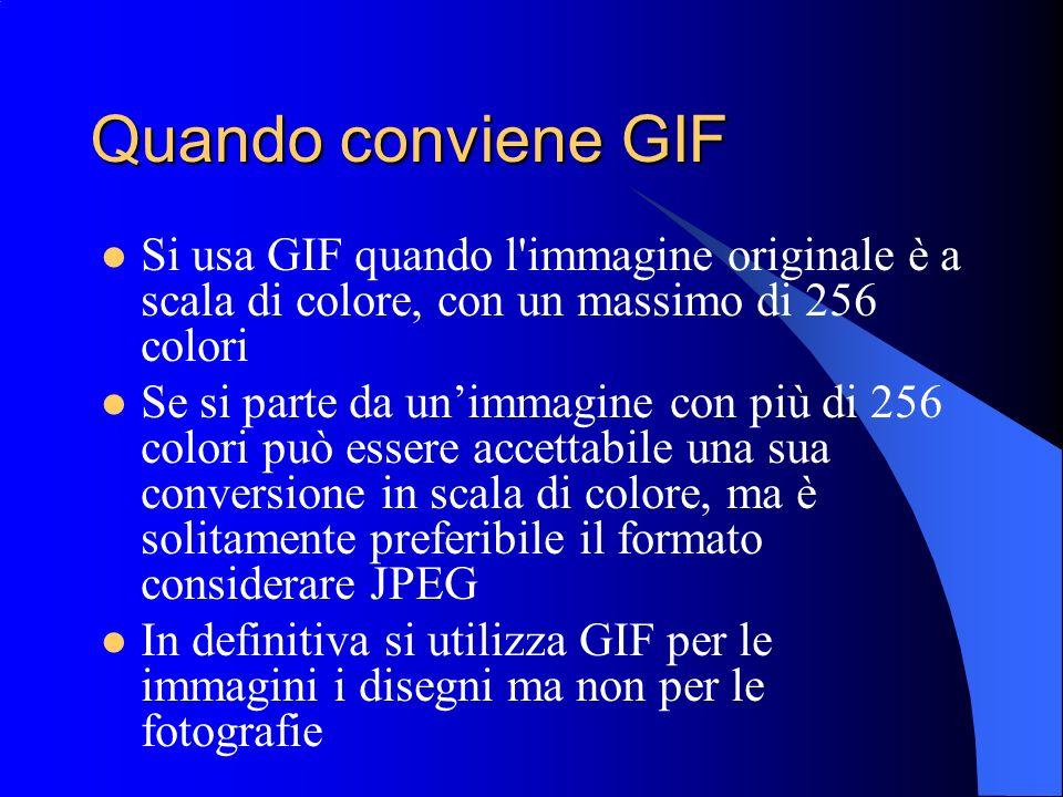 Quando conviene GIF Si usa GIF quando l'immagine originale è a scala di colore, con un massimo di 256 colori Se si parte da unimmagine con più di 256