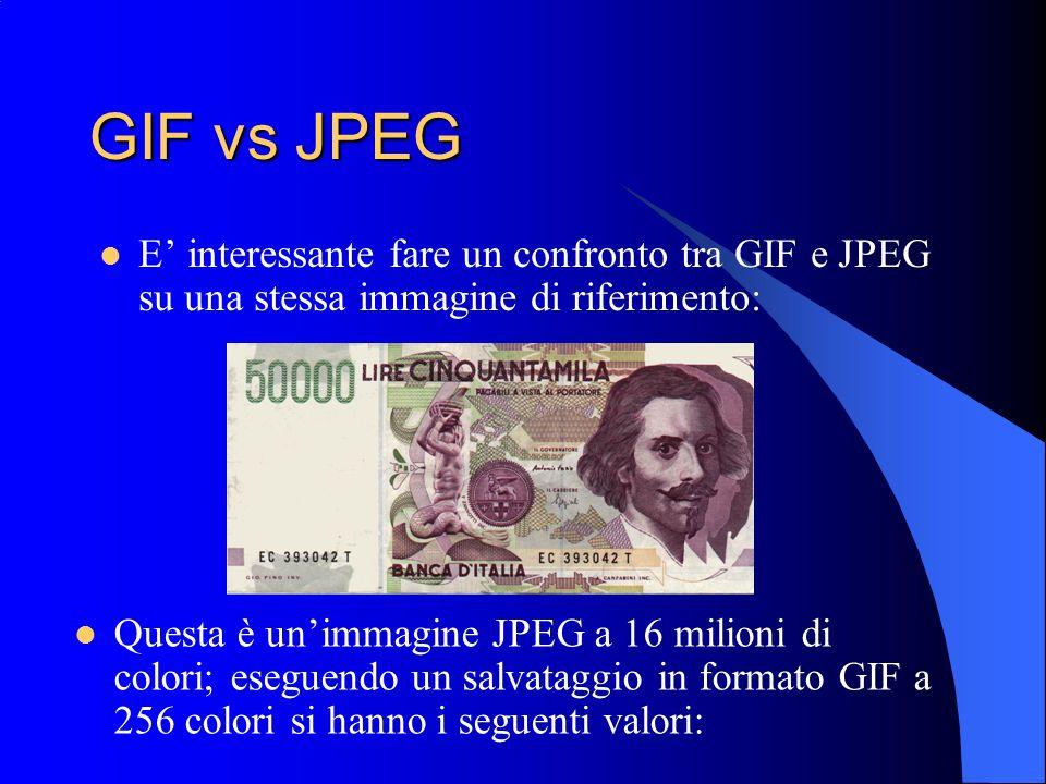 GIF vs JPEG E interessante fare un confronto tra GIF e JPEG su una stessa immagine di riferimento: Questa è unimmagine JPEG a 16 milioni di colori; es
