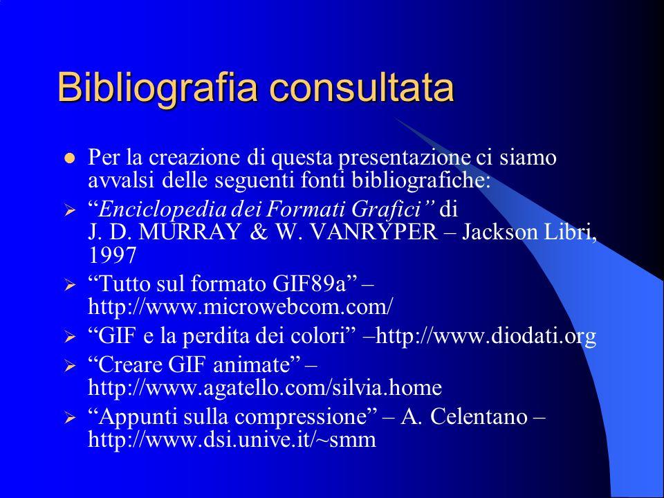Bibliografia consultata Per la creazione di questa presentazione ci siamo avvalsi delle seguenti fonti bibliografiche: Enciclopedia dei Formati Grafic