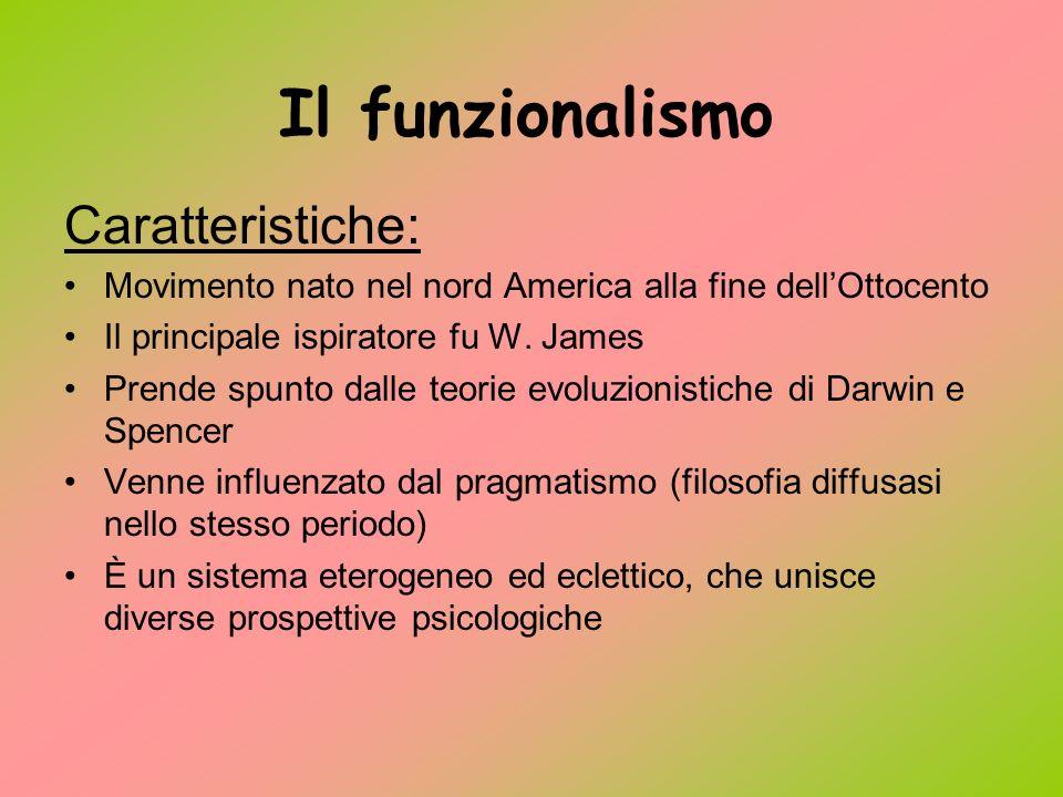 Il funzionalismo Caratteristiche: Movimento nato nel nord America alla fine dellOttocento Il principale ispiratore fu W.