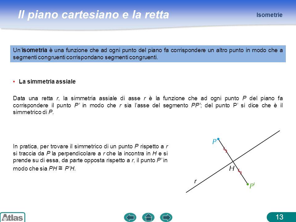 Il piano cartesiano e la retta Isometrie 13 Unisometria è una funzione che ad ogni punto del piano fa corrispondere un altro punto in modo che a segme