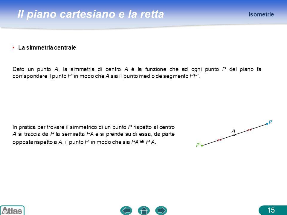 Il piano cartesiano e la retta Isometrie 15 La simmetria centrale Dato un punto A, la simmetria di centro A è la funzione che ad ogni punto P del pian