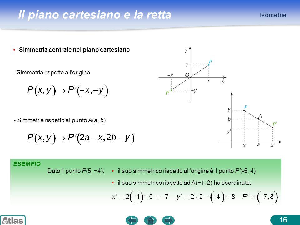 Il piano cartesiano e la retta Isometrie 16 Simmetria centrale nel piano cartesiano ESEMPIO Dato il punto P(5, 4): - Simmetria rispetto allorigine - S