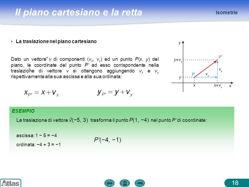Il piano cartesiano e la retta Isometrie 18 ESEMPIO ascissa: 1 5 = 4 ordinata: 4 + 3 = 1 P(4, 1) La traslazione di vettore v(5, 3) trasforma il punto
