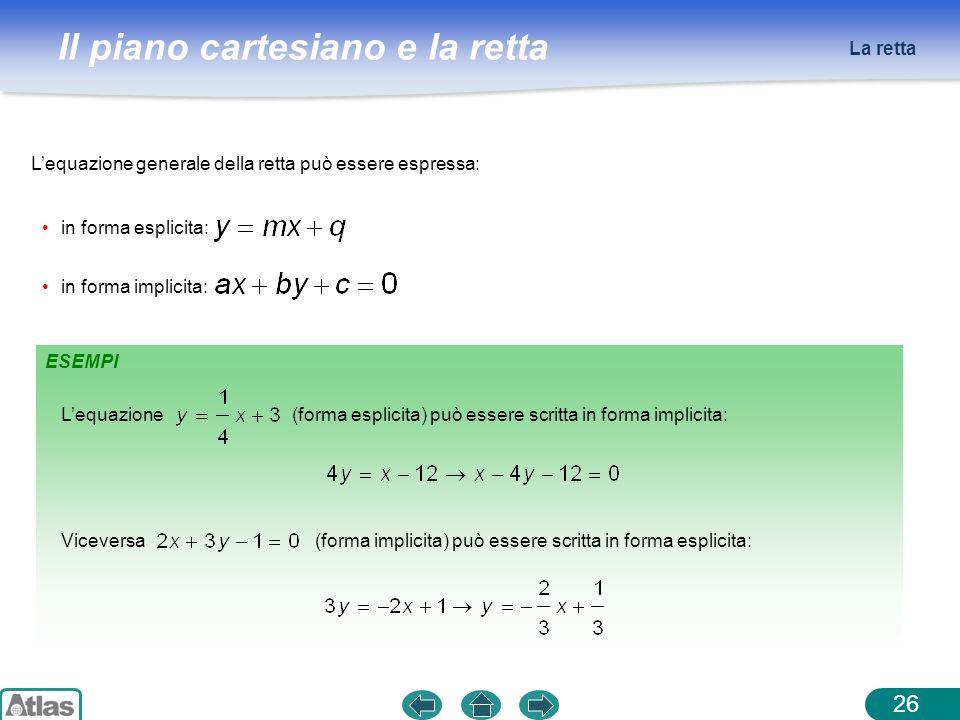 Il piano cartesiano e la retta La retta 26 Lequazione generale della retta può essere espressa: in forma implicita: in forma esplicita: ESEMPI Lequazi